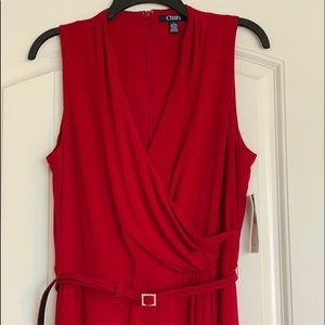 Chaps Red Floor Length Dress